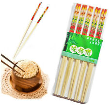 """9.5"""" Wooden Bamboo Chopsticks Traditional Chinese/Japanese Printed 5 Pairs Stick"""