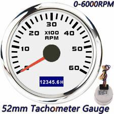 52mm Car Boat Marine Tachometer Diesel Engine Tacho Gauge 0 6000rpm With Hourmeter
