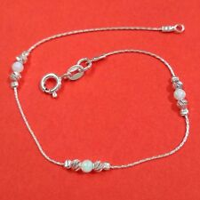 White OPAL Beads Sterling Silver 925 Chain & Beads Handcrafted BRACELET
