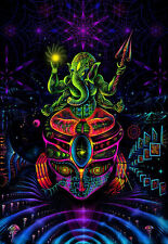 UV Backdrop Ganesha Psychedelic Deko Wandbehang 1m x 1,5m Hippie Goa Psy Kunst