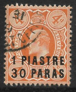 STAMPS-BRITISH LEVANT. 1909. 1pi 30pa on 4d Brown Orange. SG: 19. Fine CDS Used