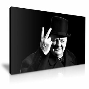 Winston Churchill V for Victory WWII Canvas Wall Art Picture Print 76cmx50cm