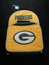 Nwt Boys Girls Green & Gold Green Bay Packer Backpack with Detachable Lunch Bag