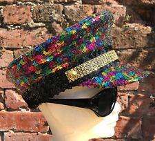Rainbow Sequin Military Captain's Hat. Festival, Gay Pride, LGBT. Sizes: S M & L