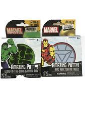 2 Marvel Arc Reactor Metallic & Glow in Dark Amazing Putty See Through Putty