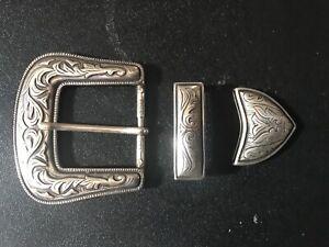 Castillian,cowboy,Western inspired 3-piece set belt buckle.Silver plaited.Spain.