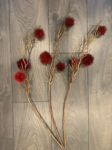 Crate & Barrel Artificial Burgundy Chestnut Branches Set of 3