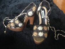 Moschino AUTHENTIC Tan Floral Embroidered Pumps / Wedges Size 36 BRAND NEW