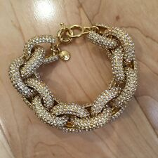 NWOT J CREW CLASSIC PAVE LINK BRACELET $125 IN GOLD