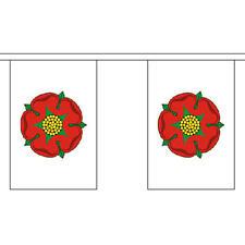"""Lancashire VECCHIO Bunting 3M lungo con 10 Bandiere 9 """"X6"""" Inglese Contea"""