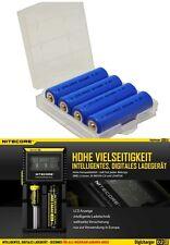 4er Pack Lifepo4 Akkus 600 mAh 3,2V Mignon AA 14500 + Nitecore D2 Ladegerät