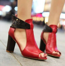 01 Summer Womens Peep Toe Block High Heel Ankle Strap Pumps Roma Sandals Shoes