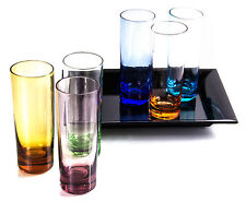 Slim Tall Shot Glasses with Serving Tray - 6 Pieces