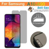 For Samsung Galaxy A10-A50 A70-A90 Anti-Spy Privacy Tempered Glass Screen Film-W
