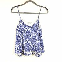 Moa Moa Size MEDIUM Womens Damasks Print Blue White Pompom Bottom Tank Top M