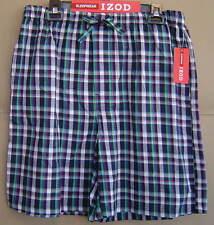 NWT IZOD Mens M 32 34 NAVY PLAID Woven Sleep Shorts Cotton Pajamas 6580506IZ