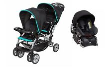 Baby Trend Sit n Stand Double Stroller One Infant Car Seat Combo Black/Teal