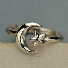 Boho Star Moon celestial Ajustable Anillo de plata esterlina UK Talla J K L M N O P ~ 33