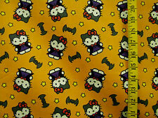 HELLO KITTY HALLOWEEN COSTUMES BAT  PRINT 100% COTTON FABRIC BY THE 1/2 YARD