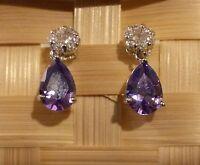 SPD Purple amethyst pear drop & diamante stud silver WHITE GOLD gf BOXED Plum UK