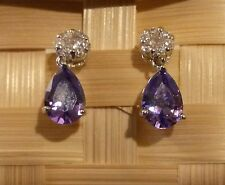 SPD Purple amethyst pear drop & diamante stud silver WHITE GOLD gf BOXED Plum UK