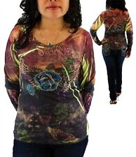 Women's Multicolor Roses Angel Wings Rhinestone Tattoo Print Blouse Top Size S