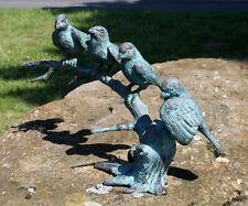 Bronze, Skulptur, 4 Spatzen auf Ast, Vögel, Dekoration für Haus und Garten