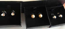 Earrings 3 Pair Dainty Delights STUDS Clear, Silver, White FREE SHIP