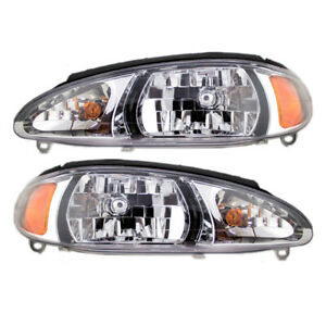 New Pair Set Headlight Headlamp Lens Housing DOT Ford Escort Mercury Tracer
