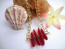 Pendant Gold Chain Necklace Red Sea Glass Bar Style