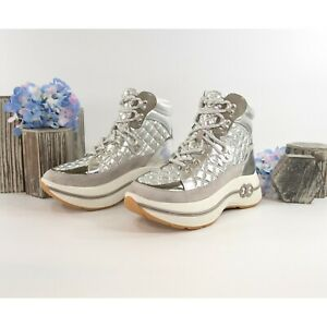 Tory Burch Gemini Link Platform Silver Quilted Nylon Suede Hiking Boots Size 7