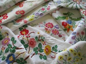 Bundle of 10 Hand Embroidered Vintage Tablecloths For Projects! All With Defects