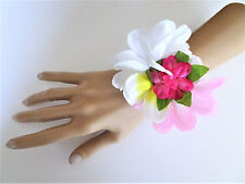 Beautiful 4 Row Glass Pearl Bracelet Corsage White / Pink Flower Bridesmaid Prom