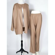 Shamask Tan Wool Stretch Open Jacket Pant Suit Lagenlook Size 2
