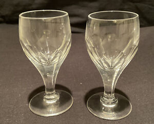 2 VINTAGE THOMAS WEBB CRYSTAL SHOT TOT GLASS HEAVY CUT LIQUEUR APERITIF DRINK