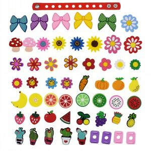US Stock 51pcs Flower Fruit Plant Shoe Charms Adapter Fit Wristband Girls Gifts