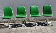 70er Jahre Panton Ära Vintage Design Drehkreuz Stühle weiß grüne Lederpolster