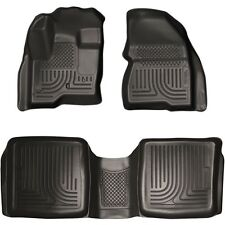 2009-2013 Ford Flex Husky WeatherBeater Black Front & 2nd Row Floor Liners
