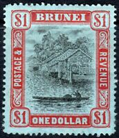 Brunei 1908 black/red on blue $1 multi-crown perf 14 mint  SG46