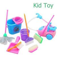 9pcs/Kit Kid Baby role-Play House Pretend Cleaning Bucket Dustpan Brush Toy Gift