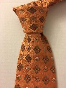 Ermenegildo Zegna Mens Orange Silk Necktie Tie ITALY