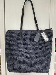 M&S Marks & Spencer Navy Blue Large Woven Handbag Tote Bag BNWT NEW