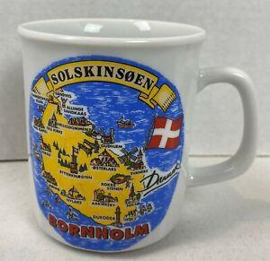 Bornholm Coffee Mug Cup Denmark Solskinsoen Souvenir Solskinson Map #21J