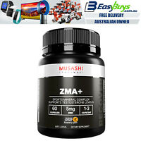 Musashi ZMA + 60 Capsules Testosterone Booster Power Strength Gains Zinc Mag B6