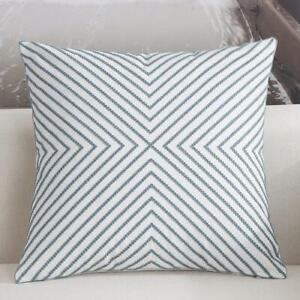Striped Teal White Square Scandinavian embroidery Indoor cushion cover 18' Decor