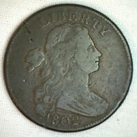1802 Draped Bust Copper Large Cent Early Penny Type Coin Fine M10