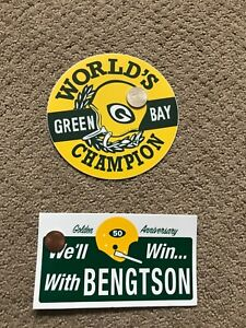 """GREEN BAY PACKERS Vintage CHAMPIONSHIP 1960s Decals Stickers 5"""" Diameter"""