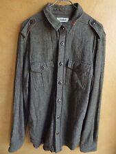 Men's JEDIDIAH Rare Brown Tweed Button Front Shirt Orange Sz XL Poly Wool Blend