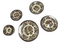 22 Piece TONQUIN Royal Staffordshire Brown Transferware Dinnerware Set