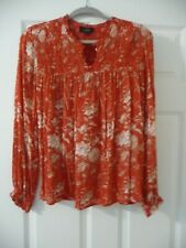 Lucky Brand Red Flower Smocked Blouse Size  L